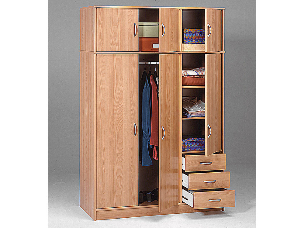 armoire dressing typhon 6 portes et 3 tiroirs aspect poirier du japon 43845. Black Bedroom Furniture Sets. Home Design Ideas