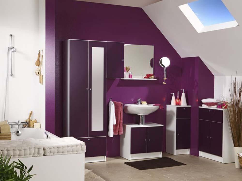 Miroir de salle de bain deko anthracite l 60 x h 57 6 x p 11 cm 5 - Meuble de salle de bain couleur aubergine ...