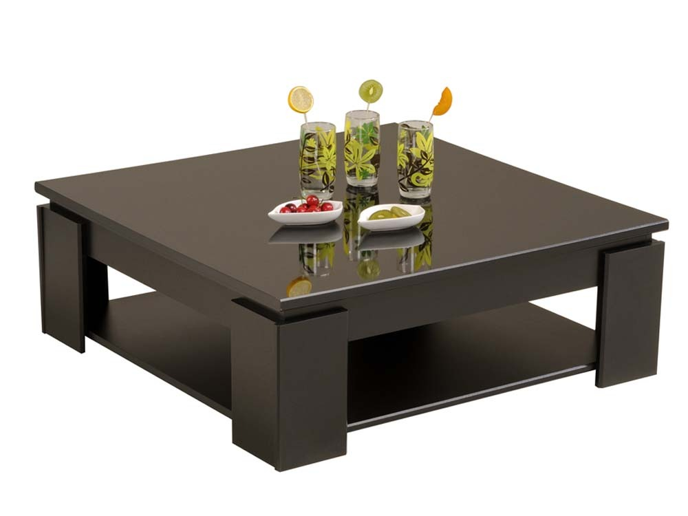 Table basse kala 89 x 31 x 89cm noir laqu 52478 - Table basse carree noire ...