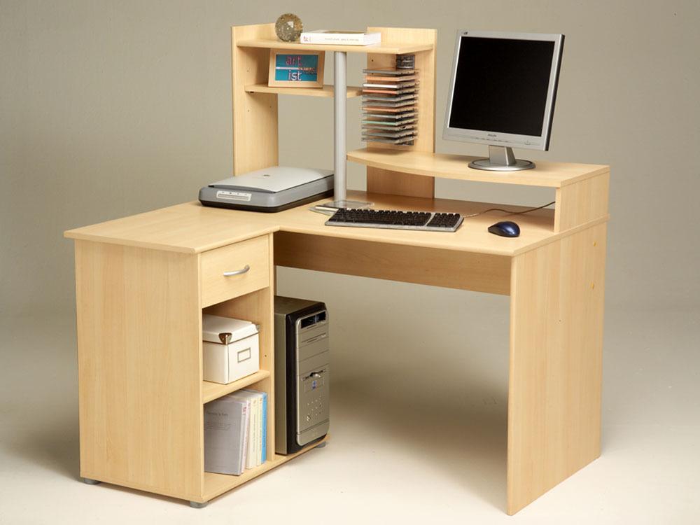 meubles de compl ment bureau d 39 angle rex aspect h tre clair 4 tag res 1 tiroir et 1. Black Bedroom Furniture Sets. Home Design Ideas