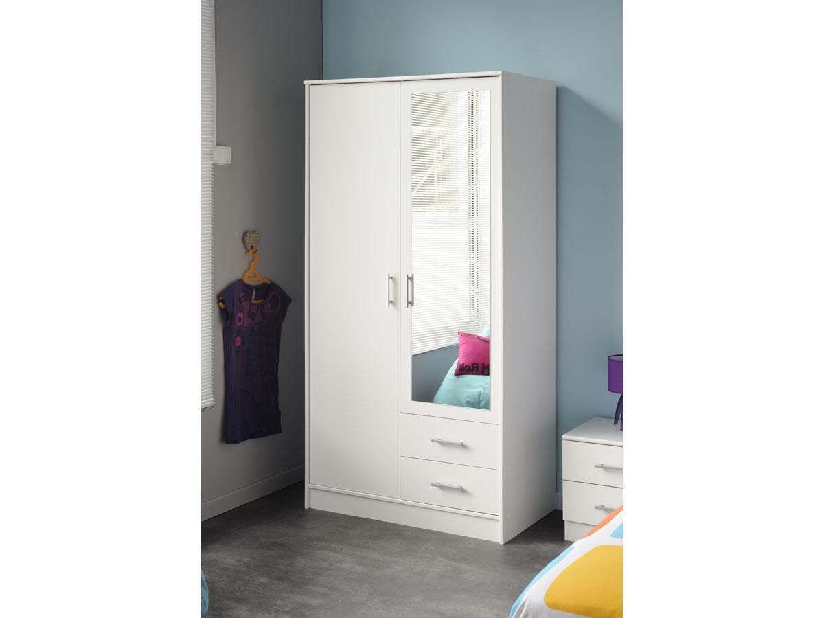 Amoire 2 portes Soft - 90 x 50 x 180 cm - Coloris blanc