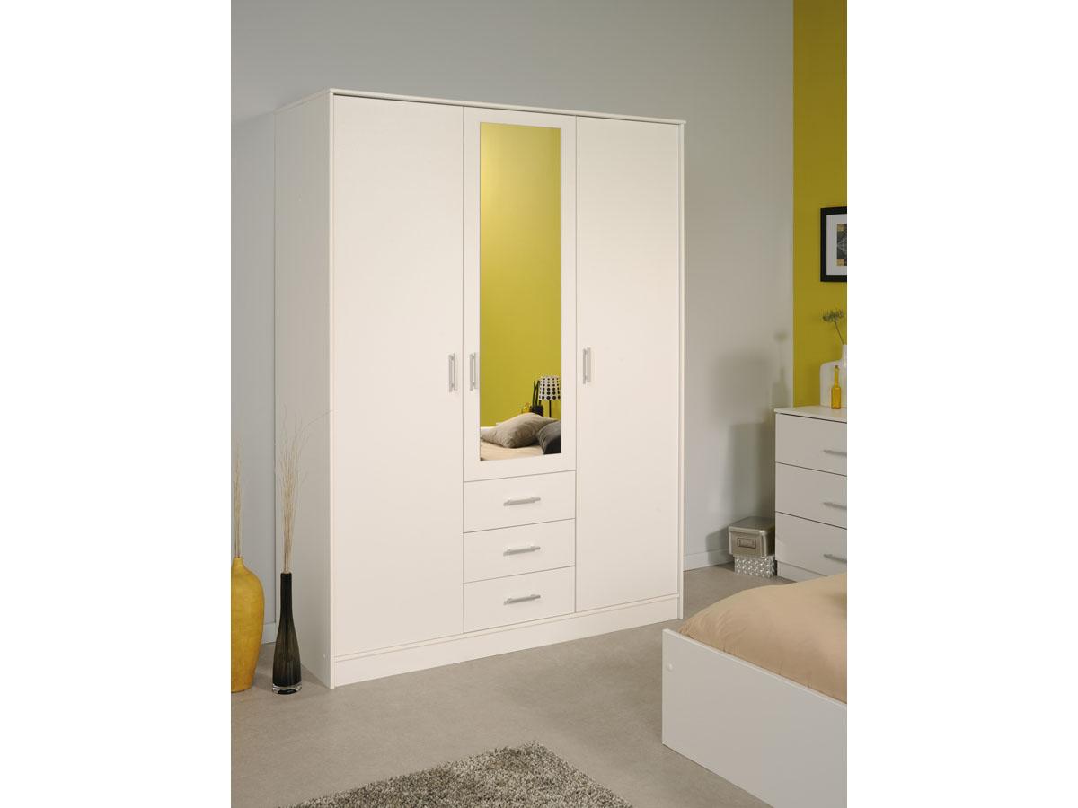 Armoire 3 portes Soft - 148 x 55 x 202 cm - Coloris blanc