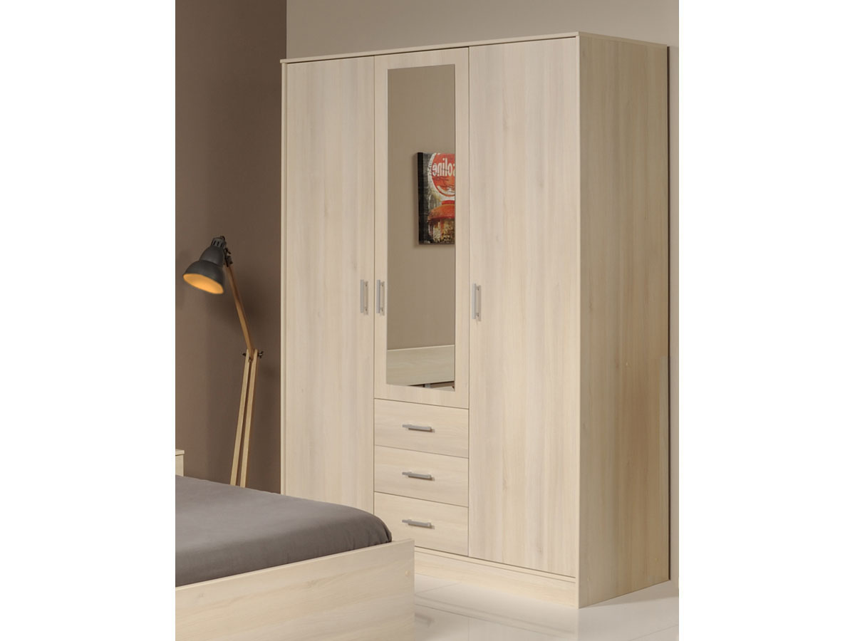 armoire 3 portes soft 148 x 55 x 202 cm coloris. Black Bedroom Furniture Sets. Home Design Ideas