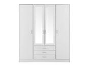 """Armoire 4 portes """"Soft"""" - 176 x 55 x 202 cm - Coloris blanc"""