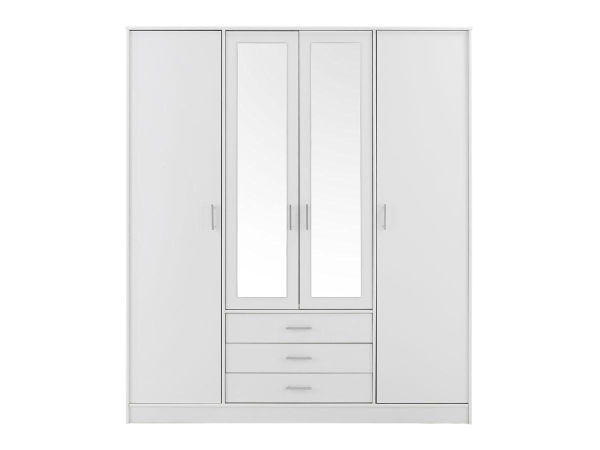 Armoire 4 portes Soft - 176 x 55 x 202 cm - Coloris blanc