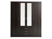"""Armoire 4 portes """"Soft"""" - 176 x 55 x 202 cm - Coloris café"""