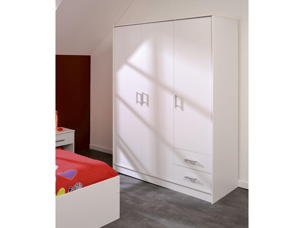 Armoire 3 portes Soft - 133 x 50 x 180 cm - Coloris blanc
