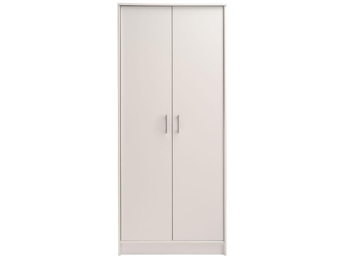 Armoire 2 portes Soft - 75 x 34 x 181 cm - Coloris blanc