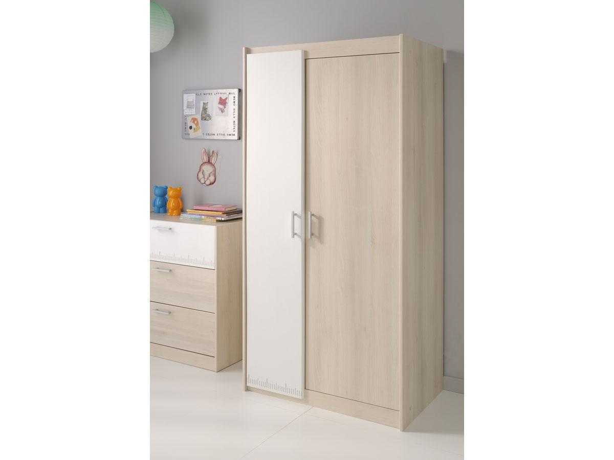Armoire 2 portes Nougat - 85 x 52 x 180 cm - Coloris acacia/blanc