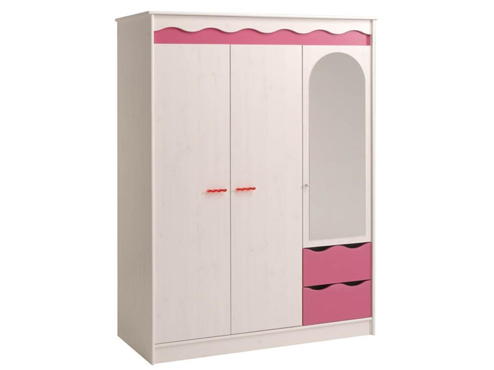 Armoire enfant Doll - En panneaux de particules - 3 portes et 2 tiroirs