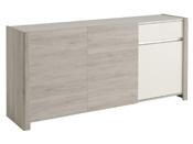 """Buffet enfilade """"Lune"""" - 180 x 44 x 85 cm - Coloris gris blanc"""