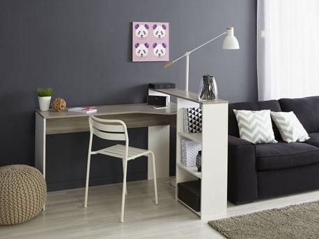 """Bureau """"Mask"""" - 135 x 108 x 92 cm - Coloris chêne/blanc"""
