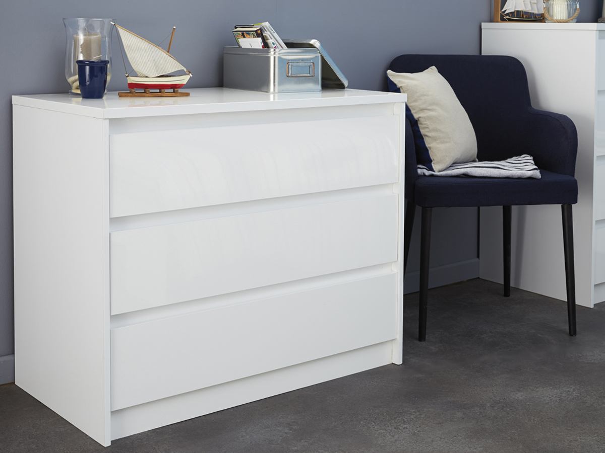 Commode blanche Ontaria - 91 x 49.7 x 75 cm - 3 tiroirs
