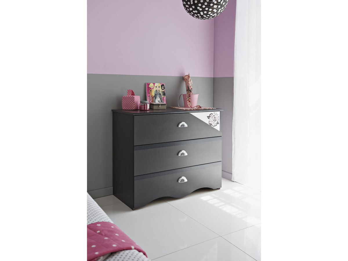 Commode Rock - 95 x 45 x 78 cm - Gris/rose
