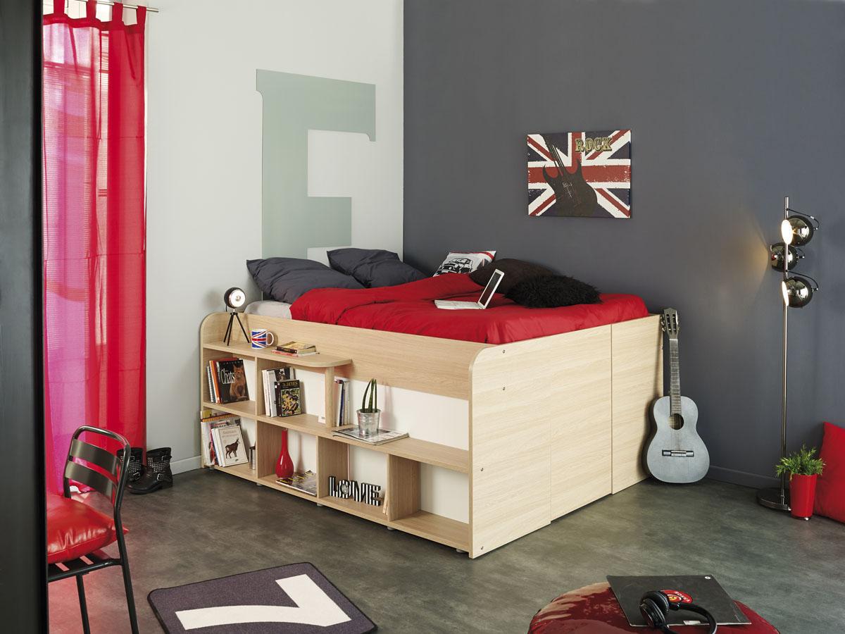 Lit Place - 166 x 207 x 87/185 cm - Espace rangement intérieur 2.3 m3