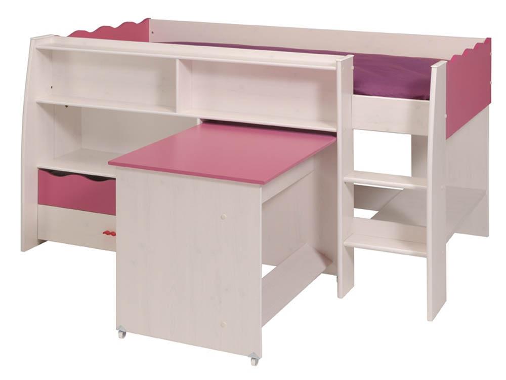 Lit combiné bureau Doll - 205 x 116 x 108 cm - En panneaux de particules