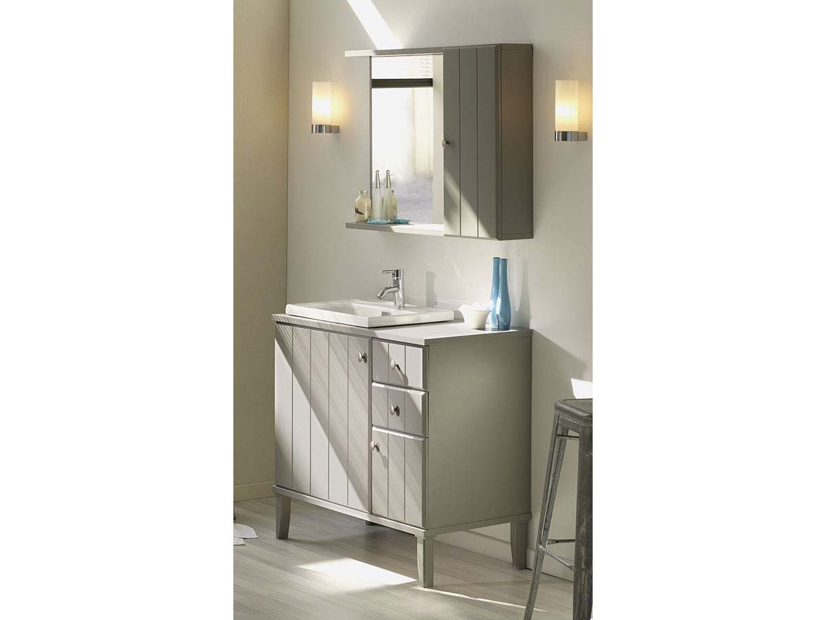 Meuble vasque + vasque + miroir Charly - 90 x 50.5 x 86.50 cm