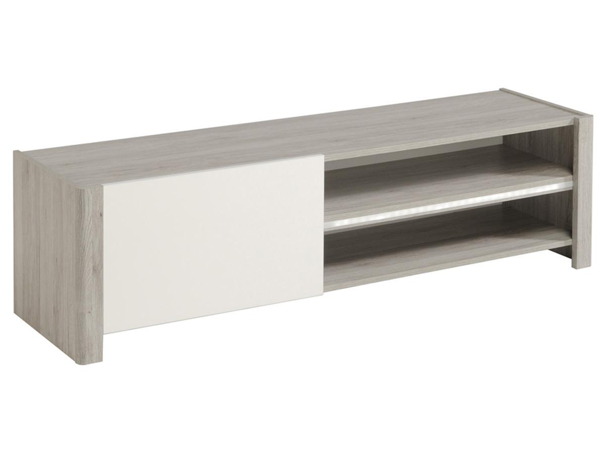 Meuble TV Lune - 150 x 42 x 40 cm - Gris/Blanc