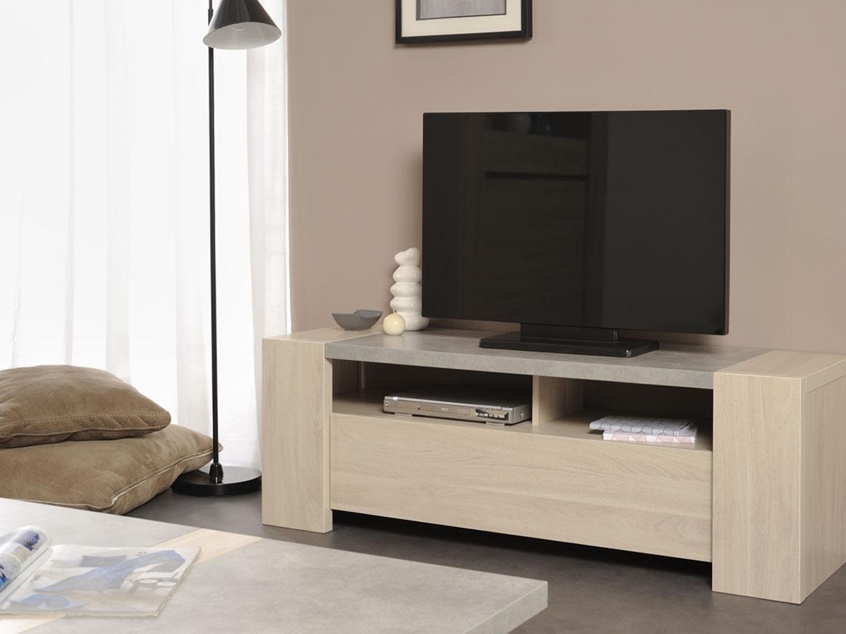 Meuble tele gris bois nous avons fait de nos meubles tv for Habitat meuble tv
