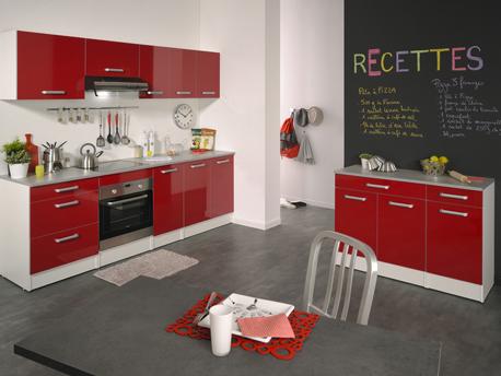 """Cuisine complète 240 cm rouge brillant """"Shiny"""""""
