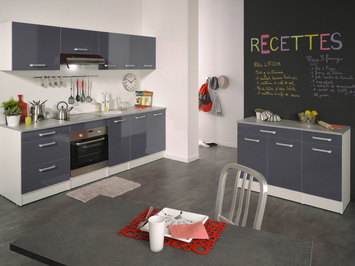 ensemble cuisine shiny 2 4 m gris brillant 78744. Black Bedroom Furniture Sets. Home Design Ideas
