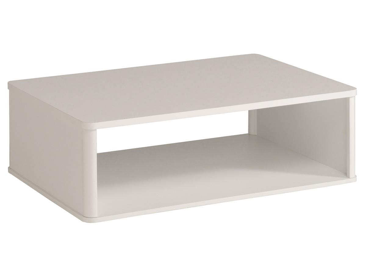 Table basse Ciri - 99,8 x P. 67,7 x H. 34,8 cm - Blanc brillant