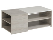 "Table basse ""Lune"" - 107 x 54 x 41 cm - Gris/Blanc"