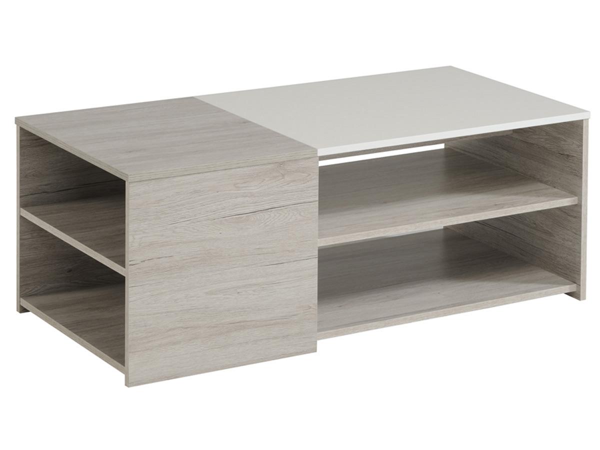 Table basse Lune - 107 x 54 x 41 cm - Gris/Blanc