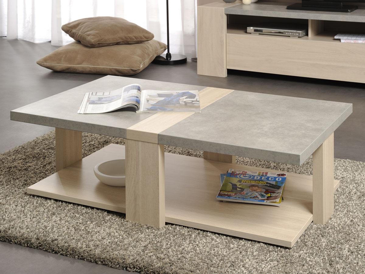 Table basse Karina - 109 x 65 x 39 cm - Chêne/Béton