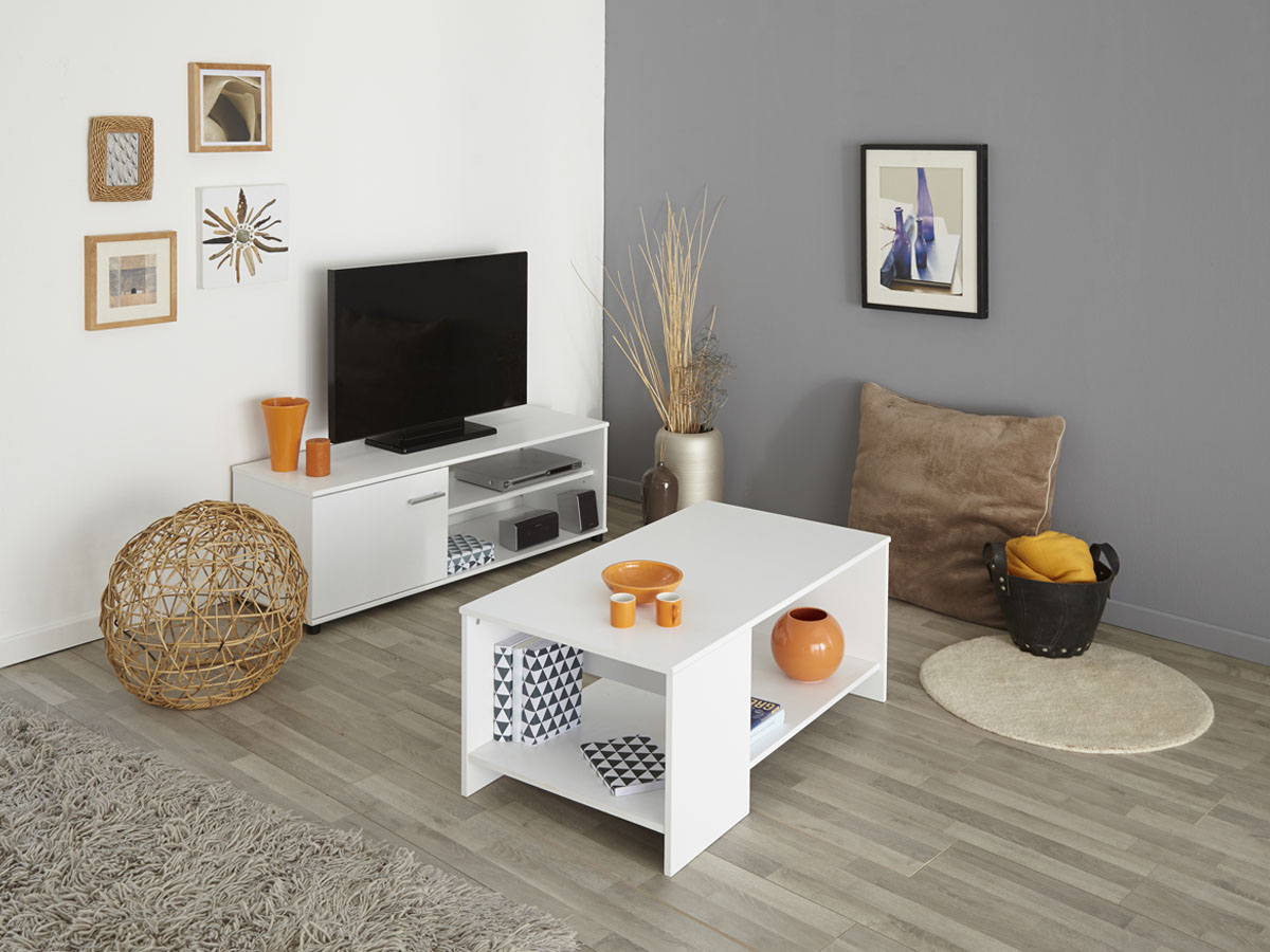 Table basse Soft - 98 x 54 x 41 cm - Blanc
