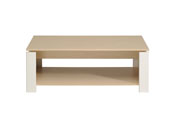 "Table basse ""River"" - 108 x 59 x 41 cm - Érable/Blanc"