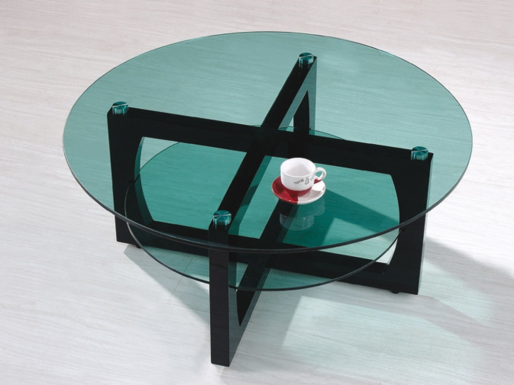Table basse ronde jordan mdf verre tremp fum for Table de salon ronde en verre