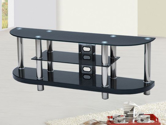 meuble tv verre tremp noir table de lit. Black Bedroom Furniture Sets. Home Design Ideas