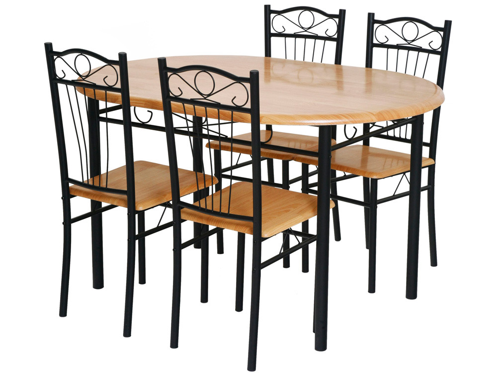 Ensemble table 4 chaises sally noir 52767 for Table de cuisine kreabel