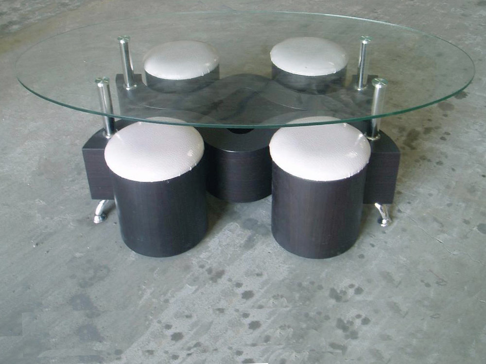 table basse 4 poufs mdf plateau en verre tremp. Black Bedroom Furniture Sets. Home Design Ideas