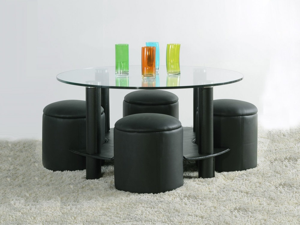 table basse verre avec 4 pouf. Black Bedroom Furniture Sets. Home Design Ideas