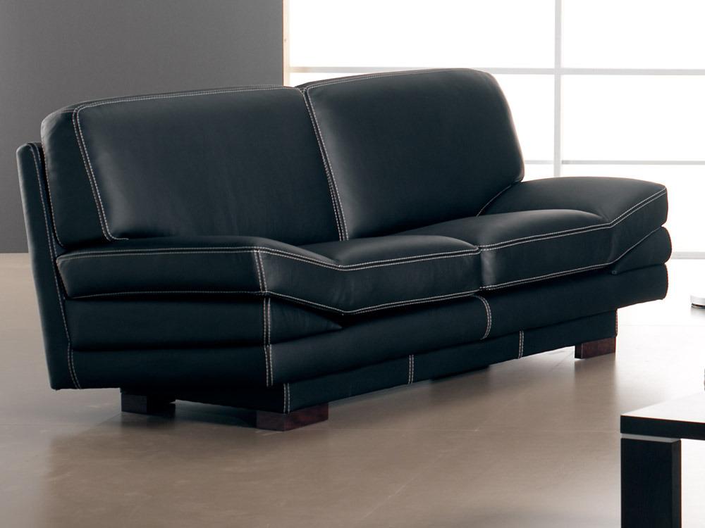 Canap cuir de vachette amadeus 2 places noir 37345 for Protection canape cuir