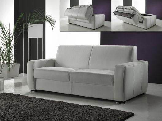 Canapé convertible cuir Magnifico - 3 places - Blanc