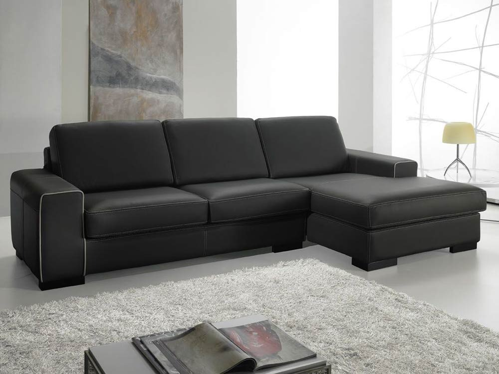 Canapé d'angle droit cuir de vachette Sandra - Anthracite - Angle droit