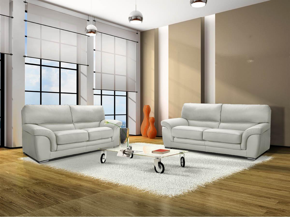 Canapé cuir clara - 2 places - Blanc
