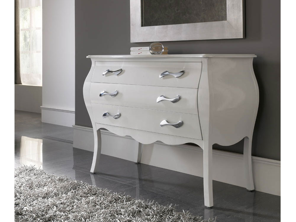 Commode Jane - 116 x 53 x 85 cm - 3 tiroirs - Coloris blanc