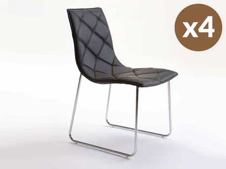 """Lot de 4 chaises """"Andréa"""" - Noir"""