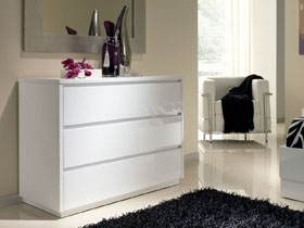 Commode Adélie - 106 x 45 x 78 cm - 3 tiroirs - Coloris blanc