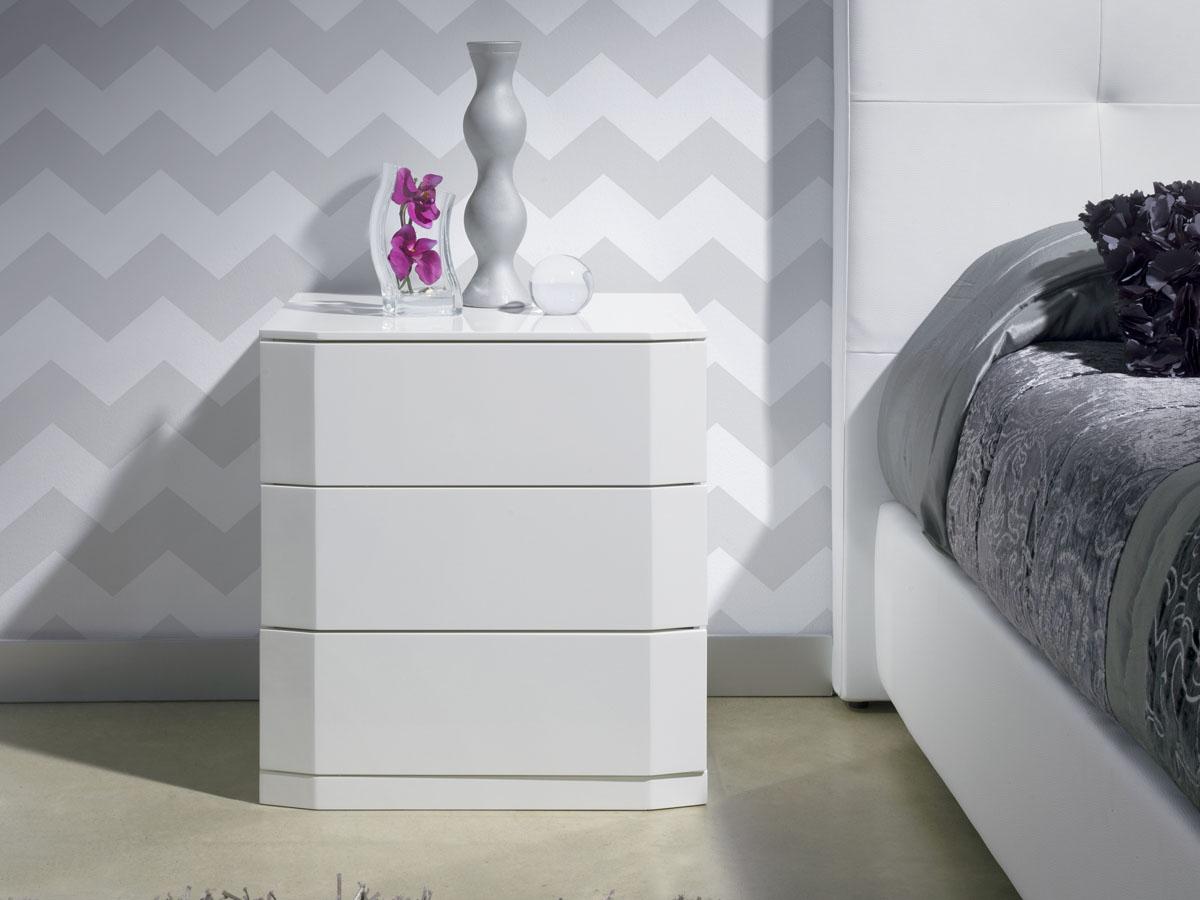 Lot de 2 chevets Perle 3 tiroirs - 54 x 42 x 57 cm - Coloris blanc