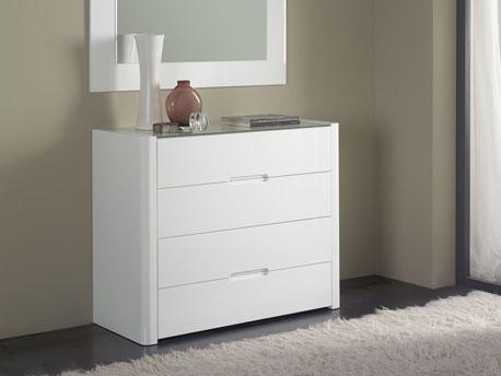 "Commode ""Manille"" - 103 x 45 x 84 cm - 4 tiroirs - Coloris blanc"