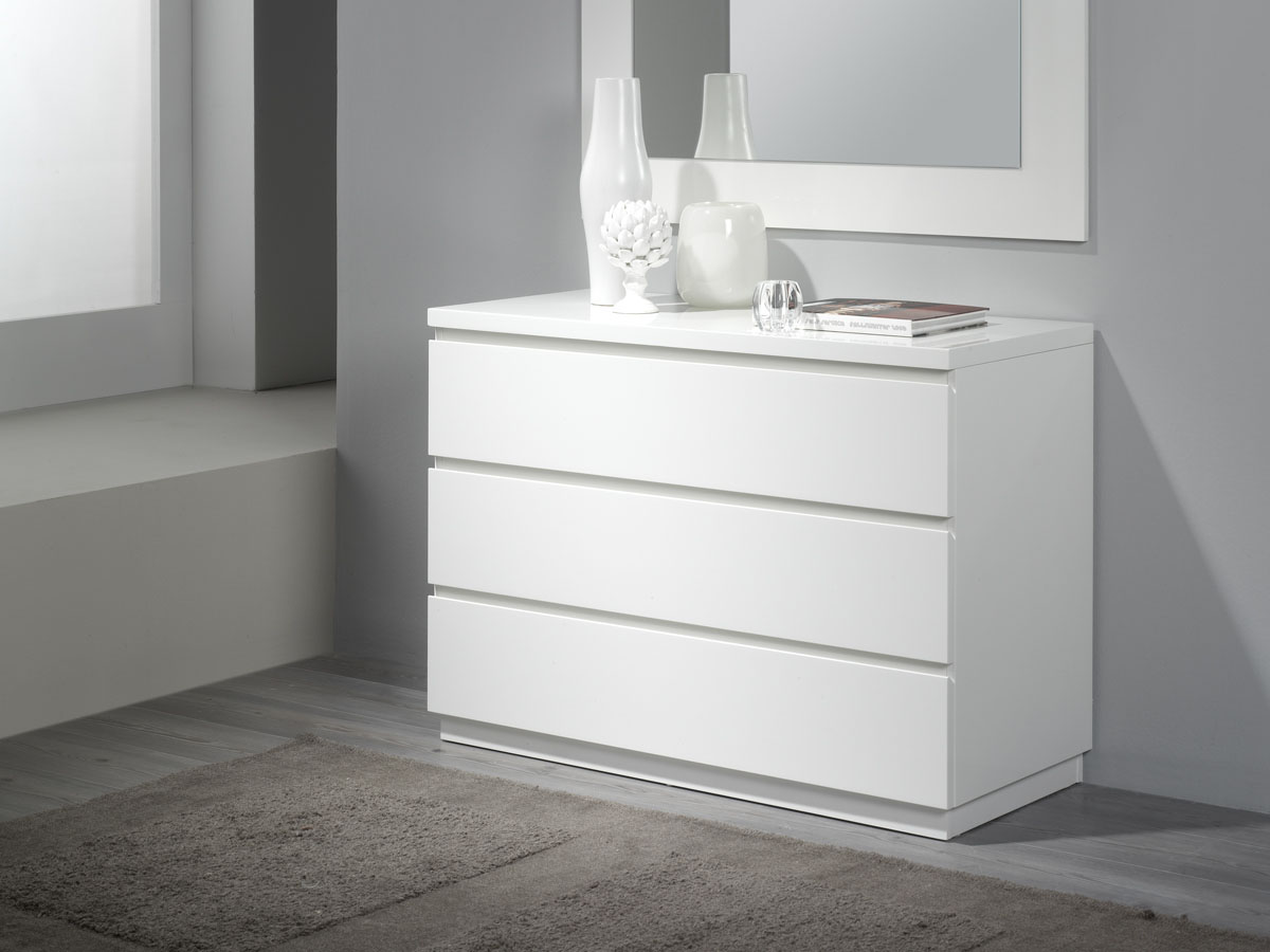 Commode Opale - 106 x 45 x 77 cm - 3 tiroirs - Coloris blanc