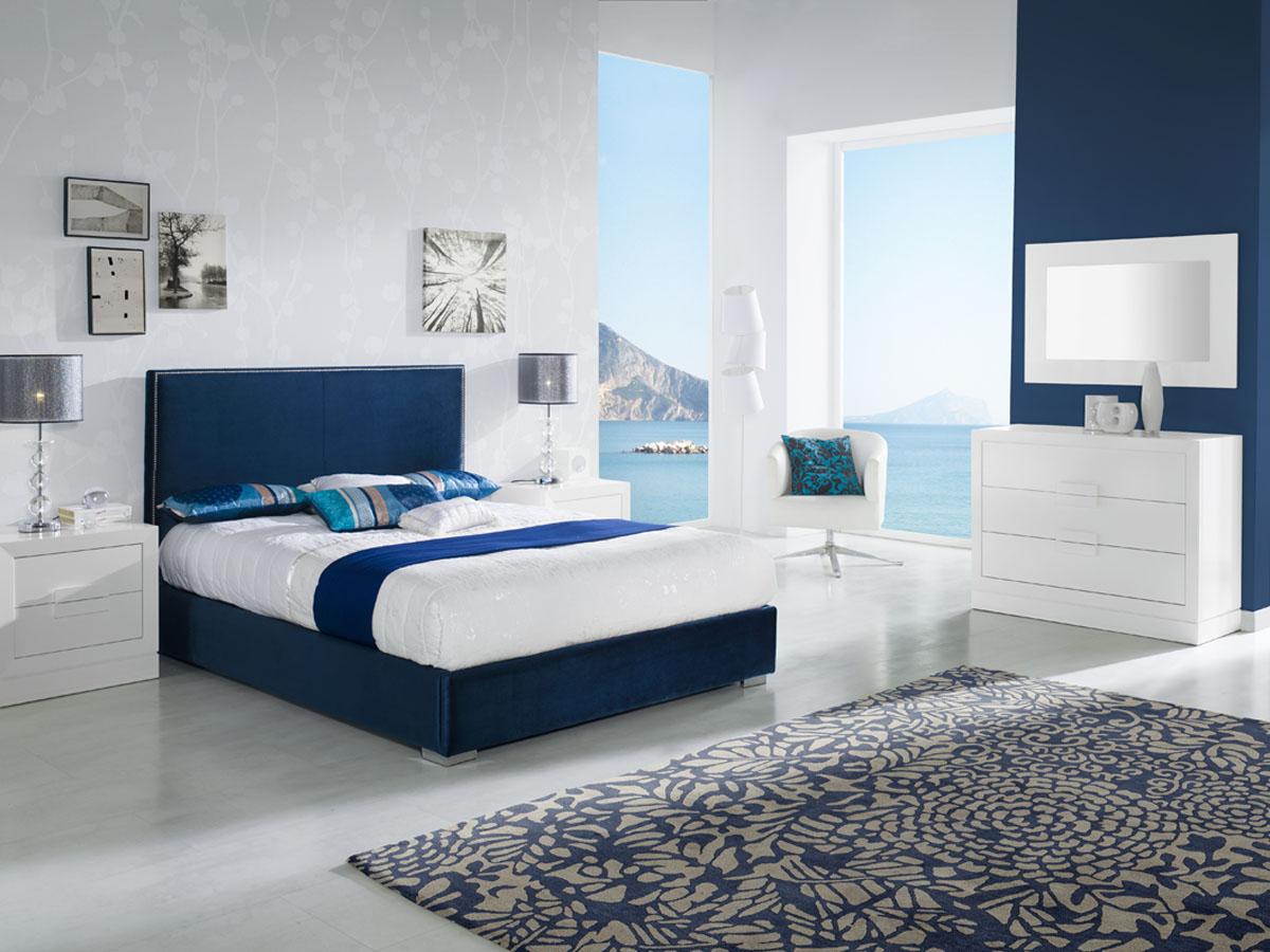Lit à pans Cristina - 140 x 190 cm - Bleu