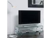 """Meuble TV verre à roulettes """"Laura"""" - 100 x 50 x 35 cm"""