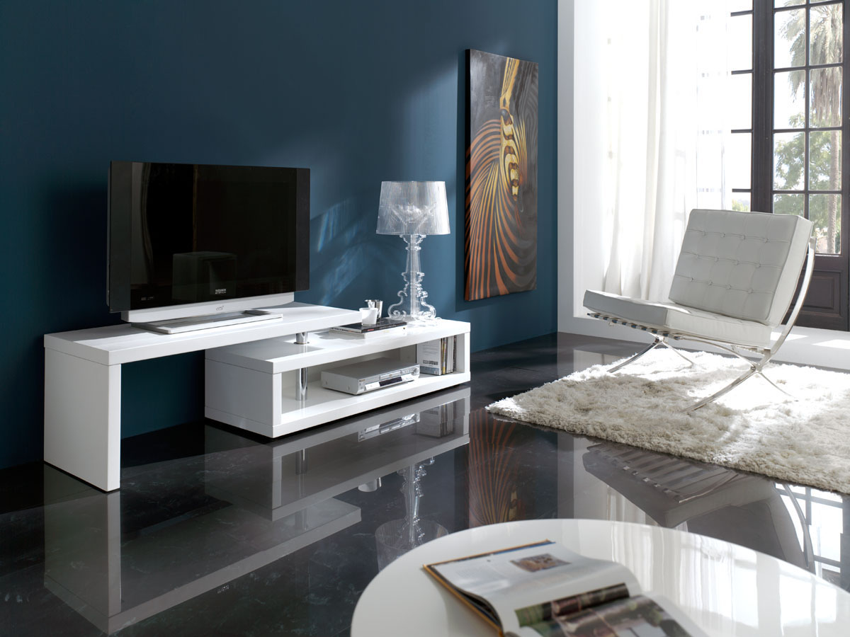 meuble tv modulable joy 141 200 x 44 x 48 cm blanc 83963. Black Bedroom Furniture Sets. Home Design Ideas