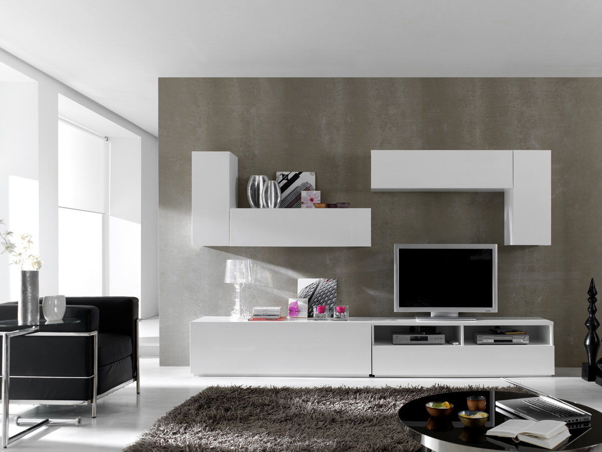 Ensemble 6 meubles tv modulables berlin blanc laqu 85426 - Meubles tv modulables ...